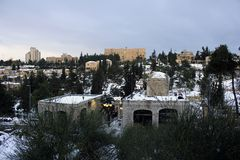 The King David Hotel Under Snow in Jerusalem in Israel Stock Photography
