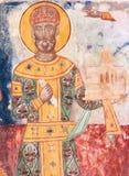 King David IV Builder XII century fresco in Gelati Monastery stock images