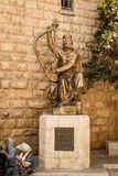 King David's statue playing the harp Stock Photography