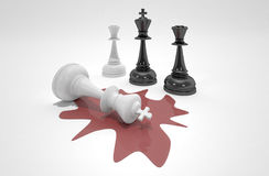 The king is dead. White chess king laying dead in blood royalty free illustration