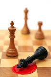 King is dead. Chess pieces: black king lying down royalty free stock photos