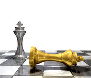 King Defeated. 3d render of two kings one looser on winner Royalty Free Stock Photo