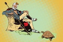 King on a desert island. Beggar King. Royalty Free Stock Image
