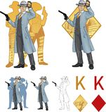 King of diamonds asian police chief and people Royalty Free Stock Photo