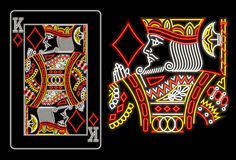 King of Diamonds in neon. Isolated on black Royalty Free Stock Photo