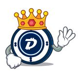 King Digibyte coin mascot cartoon. Vector illustration Stock Images