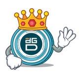 King DigixDAO coin mascot cartoon. Vector illustration Stock Image