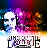 King of the discotheque flyer. Tor alternative music event postet. basckground is full of glitter and flow of lights with rainbow tone Royalty Free Stock Images