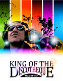 King of the discotheque flyer. Tor alternative music event poster. basckground is full of glitter and flow of lights with rainbow tone Stock Image