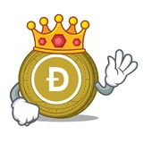 King Dogecoin mascot cartoon style. Vector illustration Stock Photos