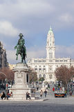 King Dom Pedro IV Statue in the Aliados Avenue Royalty Free Stock Photos