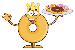 King Donut Cartoon Character Serving Donuts Stock Images