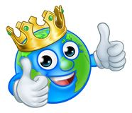 King Earth Globe World Mascot Cartoon Character stock images