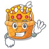 King easter basket above wooden cartoon table. Vector ilustration royalty free illustration