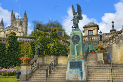 King Edward VII Memorial in Bath, Somerset, England. BATH, ENGLAND - JULY 28: statue of angel from King Edward VII Memorial in Parade Gardens on July 28, 2015 in Royalty Free Stock Images
