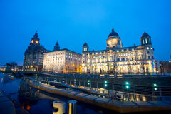 The King Edward VII Monument and the Liver Building, Liverpool, England Royalty Free Stock Photos