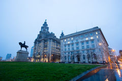 The King Edward VII Monument and the Liver Building, Liverpool, England Stock Photography