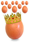 King egg and his subjects. Photo of king egg wearing golden crown with gems ruling over his subjects in egg kingdom Royalty Free Stock Images