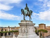 King Statue Victor Emanuele Monument Rome Italy. King Equestrian Statue Victor Emanuele Monument Rome Italy.  Monument created in 1911 to the first king of a Stock Images