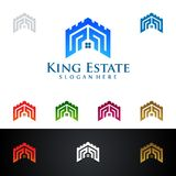 King Estate, Real Estate vector logo design with House and ecology shape, isolated on white background. Real estate vector Logo design Royalty Free Stock Photos