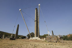 King Ezana's Stela. Axumite obelisk in Northern Stelae Park in Axum, Ethiopia Stock Photos