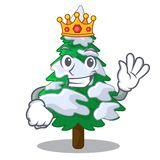 King fir with snow christmas tree cartoon. Vector illustration royalty free illustration