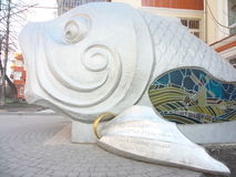 King-fish. Monument of king-fish in Voronezh Russia stock photo