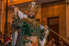 King with flag, anual Moors and Christians festival Royalty Free Stock Photos