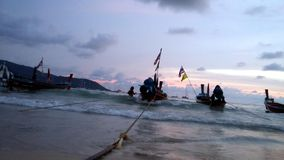 That king flags on fishing man boats Andaman ocean. Royalty Free Stock Image