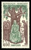 King of France Saint Louis. France - stamp 1967: Color edition on French Revolution, shows King of France Saint Louis Royalty Free Stock Photo