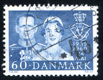 King Frederik IX and Queen Ingrid. DENMARK - CIRCA 1960: stamp printed by Denmark, shows King Frederik IX and Queen Ingrid, circa 1960 Stock Photo