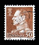 King Frederik IX, serie, circa 1967. MOSCOW, RUSSIA - MAY 13, 2018: A stamp printed in Denmark shows King Frederik IX, serie, circa 1967 Stock Photography