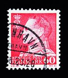 King Frederik IX, serie, circa 1967. MOSCOW, RUSSIA - MAY 13, 2018: A stamp printed in Denmark shows King Frederik IX, serie, circa 1967 Royalty Free Stock Images