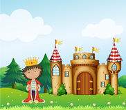 A king in front of his castle Stock Images