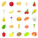 King of fruit icons set, cartoon style Royalty Free Stock Images