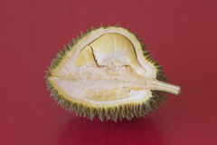 King of fruits, durian on red background Stock Photo