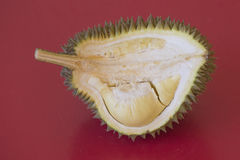 King of fruits, durian on red background Stock Images