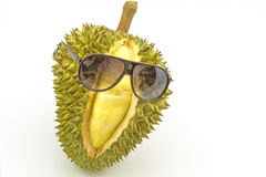 King of fruits, smiling durian and sunglass isolated on white ba Stock Images