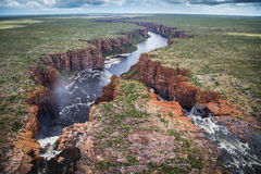 King George Falls, Northern Kimberley. Aerial image of the twin falls of the King George River in flood in the Northern Kimberley Region of Western Australia royalty free stock photos