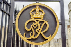 King George VI Royal Crest Logo. On a gate at Tower of London Stock Images