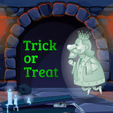 King Ghost in the castle and text trick or treat Royalty Free Stock Photos