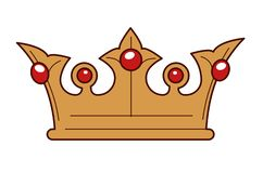 King gold crown inlaid with rubies isolated monarchy symbol. Monarchy symbol king gold crown inlaid with rubies isolated object vector royalty headdress power stock illustration