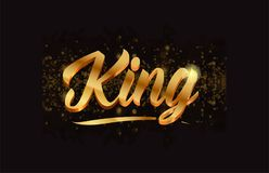Goldenlogotype copy 26. King gold word text with sparkle and glitter background suitable for card, brochure or typography logo design stock illustration