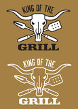 King of the Grill barbecue  image with cow skull and crossed utensils. Royalty Free Stock Photos