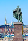 King Gustav III. Sculpture of King Gustav III in the square outside the royal palace in Stockholm Royalty Free Stock Photo