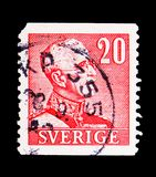 King Gustav V, serie, circa 1940. MOSCOW, RUSSIA - MAY 15, 2018: A stamp printed in Sweden shows King Gustav V, serie, circa 1940 royalty free stock photography