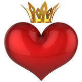 King heart. Lucky love (Hi-Res). Red shiny heart with golden crown. This is a detailed 3D rendering. Isolated on white. Love will save the world Royalty Free Stock Photography