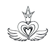 King Heart with Wings Stock Image
