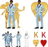 King of hearts attractive afroamerican man with. King of hearts attractive afroamerican man in luxury stripped costume with female corps de ballet dancers Stock Photo