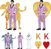 King of hearts attractive asian man with corps de. King of hearts attractive asian man in luxury stripped costume with female corps de ballet dancers silhouettes Royalty Free Stock Photography